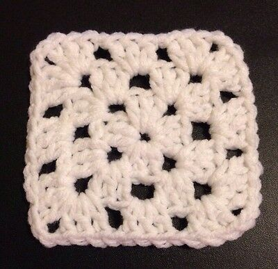 "20 4"" WHITE Hand Crocheted GRANNY SQUARES Afghan Yarn Throw Blanket Blocks NEW"