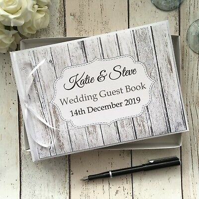 Personalised Wedding Guest Book In Box ~ Rustic White Vintage Wood Design