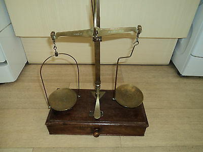Antique Apothecary Chemist Brass Balance Scales & Weights