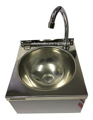 Easi-Wash Stainless Steel Push Front Hands Free Catering Hand Wash Basin Sink