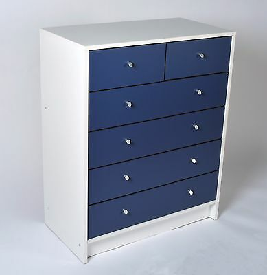 Madison 4+2 Chest of Drawers in White & Blue Effect