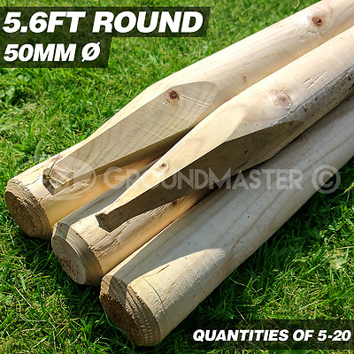 GroundMaster 5.6ft Rounded Stakes 1700mm Wooden Timber Tree Post Treated Support