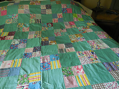 75 X 90 Vintage Quilt Top Feed Sack Fabrics 4 Patch Nile Green Cottage Decor BLT