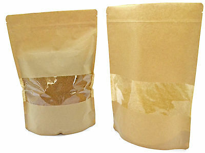 Large Heat Seal Food Bags Extra Thick Kraft Brown Paper Re-Sealable Grip Pouch