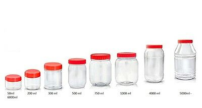 Plastic Storage Jars Containers Canisters Pots  Screw Top