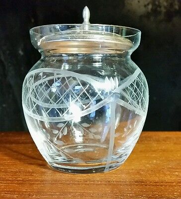vintage antique etched glass jam pot with Watson sterling lid