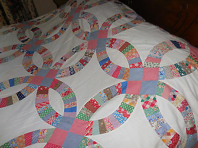 Vintage Double Wedding Ring Quilt Top 80 X 99 Cotton Fabrics Early 1900s-30s BLT