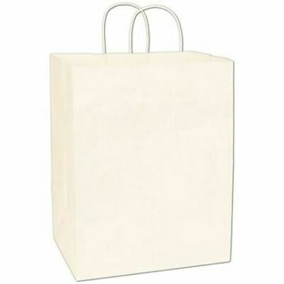 200 Recycled White Kraft Gift Merchandise Paper Bags Shoppers Lindsey 12 x 9 x 1