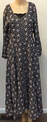 STARINA S Small Rayon Black and White Floral Long Dress India
