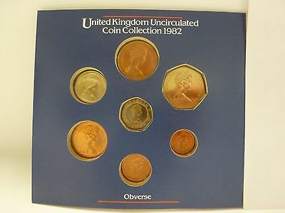 1982 United Kingdom Uncirculated 7 Coin Set - Royal Mint package #1