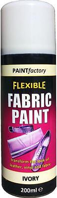 x2 Ivory White Fabric Spray Paint Leather Vinyl Crafts, Flexible 200ml 5 Colours