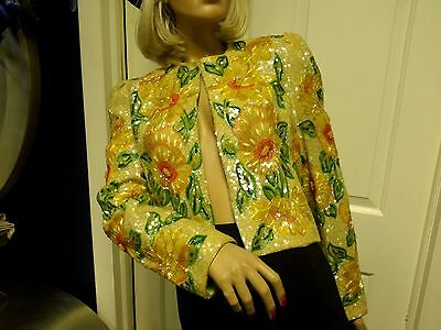 Womens Vintage Couture Custom 60's Sequin Beaded Sunflower Jacket Size Small
