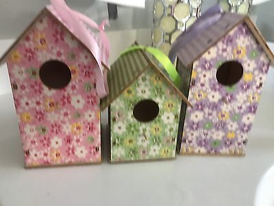 Set Of 3 Shabby Chic Bird House Decor Fabric Covered Perfect For Display 🐥EUC
