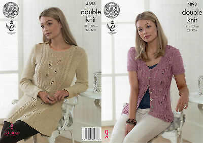 King Cole Ladies Double Knitting Pattern Womens Lace Detail Tunic Cardigan 4893