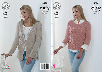 King Cole Ladies Chunky Knitting Pattern Womens Cable Knit Jumper Cardigan 4894