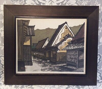 Vintage 1977 Framed Japanese Woodblock Print Signed Seeichiro Konishi LE 113/170