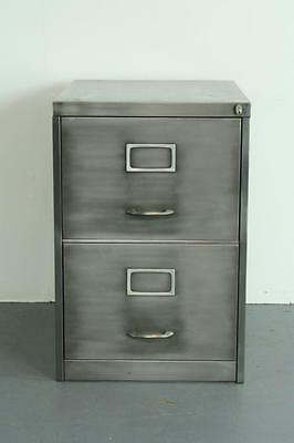 Vintage Industrial Stripped Steel 2 Drawer Filing Cabinet #2018