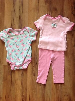 Baby Gear 3 Piece SET Rose Bodysuit Pink Pants Cupcake Top Outfit 3-6 Months