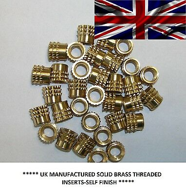 M3,M4,M5,M6 Threaded Solid Brass Press-in Barbed Inserts for plastic.