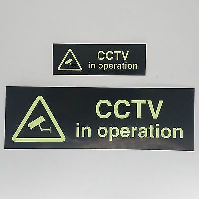 CCTV IN OPERATION SIGN GLOW IN DARK STICKER CCTV CAMERA SECURITY Photoluminescen