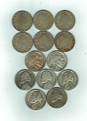 Lot Of 13 U.s. Nickels, Mixed Lot, 1901-1945, Nice Condition