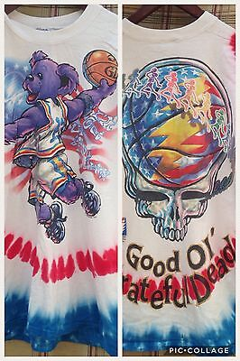 Grateful Dead Shirt T-Shirt Top Vintage 1996 Tie Dye USA Flag Bear Basketball L