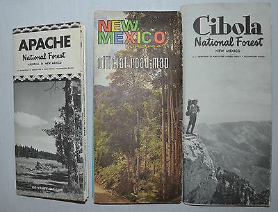 New Mexico 3 VTG Maps Official Road Apache & Cibola National Forest 1964-1971