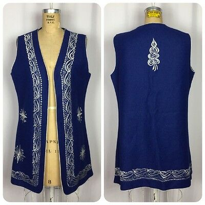 VINTAGE Ethnic Polish Handmade Folk Art Blue & White Embroidered Long Wool Vest