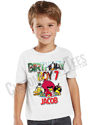 Angry Birds Birthday Shirt Custom Name and Age Angry Birds Game Personalized Tee
