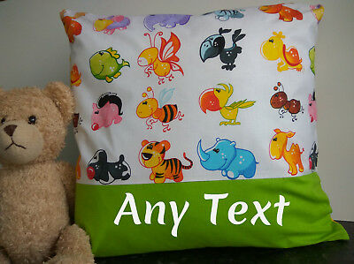cushion cover personalised  ANY TEXT OR NAME kids bedroom,animals , gift