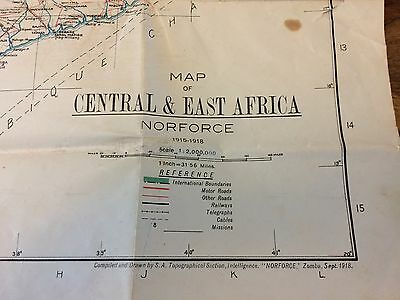 1918 Dated Map ~ Central & East Africa ~