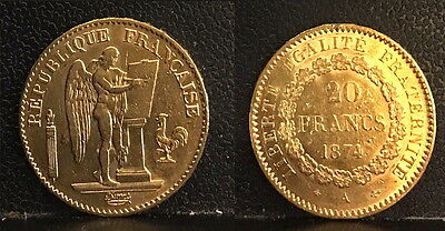 ANGEL OF GOD FROM HEAVEN 1874 Gold FRENCH REPUBLIC 20 Francs--AN OLD SCARCE COIN