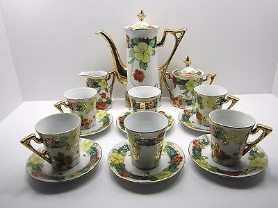 Vintage Royal Fine Porcelain Hand Painted Flowers Gilded Gold Trim Chocolate Set
