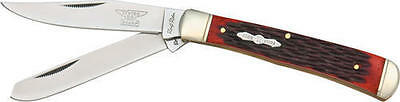 "Rough Rider RR266 Folding Knife Trapper Red Jigged Bone Handle 4 1/8"" Folder"