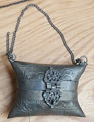 """Small Vintage etched Metal Coin Purse on Chain.3""""w x 2""""h"""