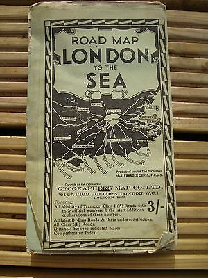 Vintage Road Map London to the Sea