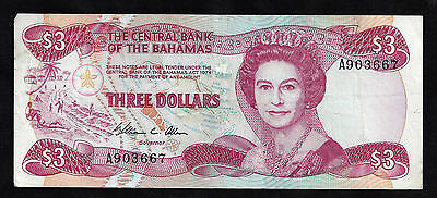 1974 Central Bank Of The Bahamas $3.00 Note  P-43a
