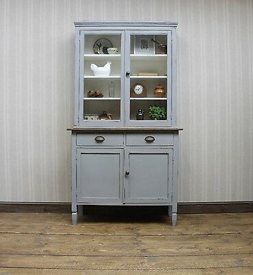Painted Bookcase Dresser Cabinet, Rustic Kitchen Dresser, mid grey shabby chic