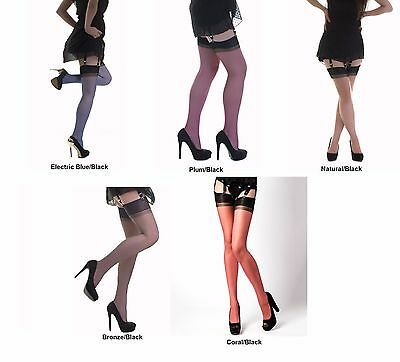 GIO Sexy Full Contrast Bicolor RHT Stockings Nylons Hosiery 15 Den Non-Stretch