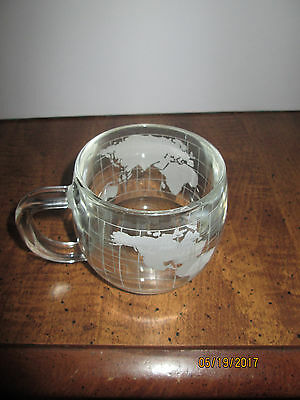 Vtg The Nestle Co Inc World Globe Earth Etched Clear Glass Coffee Cocoa Mug Cup