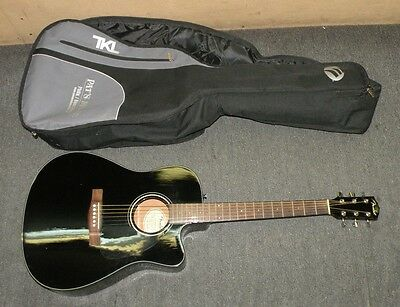 FENDER ACOUSTIC ELECTRIC GUITAR BLACK CD140SCE with CASE