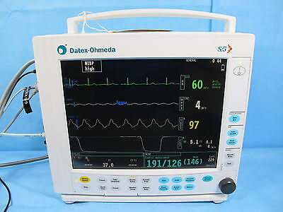 GE Datex Ohmeda S/5 Compact EtCO2 Anesthesia Gas Patient Monitor M-CAiOV M-NESTR