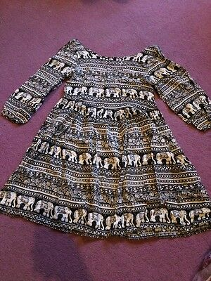 Ladies Black And White Elephant Pattern Dress, Size 6, New With Tags, Boho