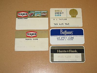 Vintage Texaco Shell Department Store credit charge cards from 1970's LOT of 5
