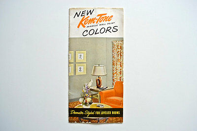 1940's 50's Kem-Tone Miracle Wall Paint Brochure w/ Paint Chips Sherwin Williams