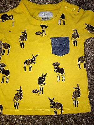 LA REDOUTE - Baby Boys Holiday T shirt,Yellow with  donkeys,age 3months
