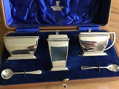 Antique Sterling Silver Art Deco Cruet  By William Neale & Sons 1939 Chester