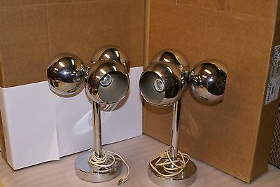 Vintage Pair of Mid Century Modern MCM 3 Orb Chrome Eyeball Table Lamps Retro