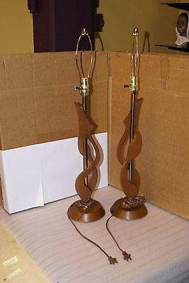 Pair of Vintage Teak Table Lamps 30in Tall Mid Century Modern MCM Retro
