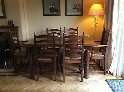 6 Oak Chairs & Table